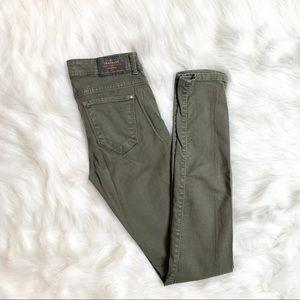 Zara Trafaluc Olive Green Skinny Jeans Size 2